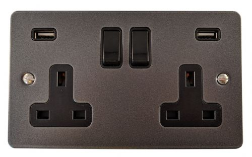 G&H FP910B Flat Plate Pewter 2 Gang Double 13A Switched Plug Socket 2.1A USB